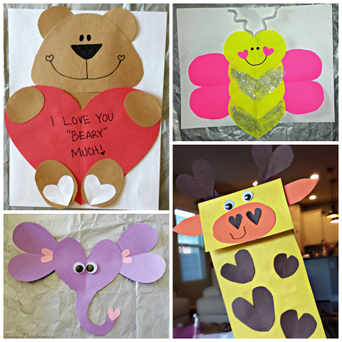 Valentine's Day Heart Shaped Animal Crafts For Kids ...