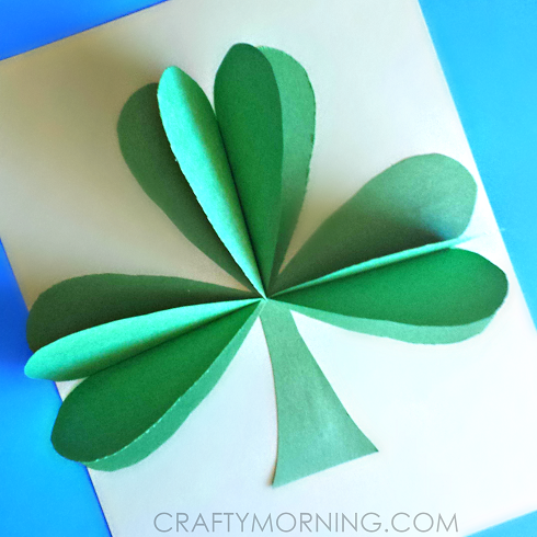 3D-paper-shamrock-st-patricks-day-craft-for-kids