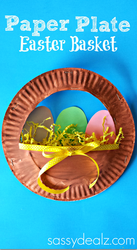 3D Paper Plate Easter Basket Craft for Kids