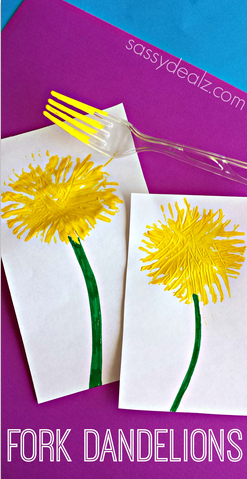 Make Dandelions Using a Fork (Kids Craft)