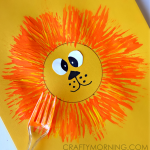 Easy Lion Card Idea for Kids to Make Using a Fork