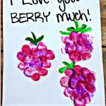 """I Love You Berry Much"" Fingerprint Raspberry Card Idea"