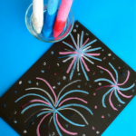 Wet Chalk Fireworks Craft for Kids