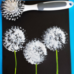 Dish Brush Dandelions Craft for Kids