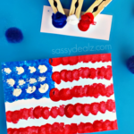 Pom-Pom American Flag Painting Craft for Kids