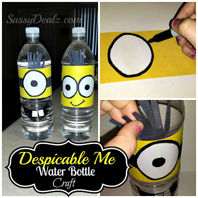 DIY: Despicable Me Minion Water Bottle Craft For Kids (Cover Tutorial)