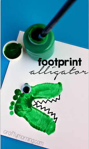 Alligator Dinosaur Footprint Crafts For Kids Crafty Morning