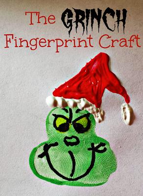 Grinch Fingerprint Craft For Kids at Christmas Time