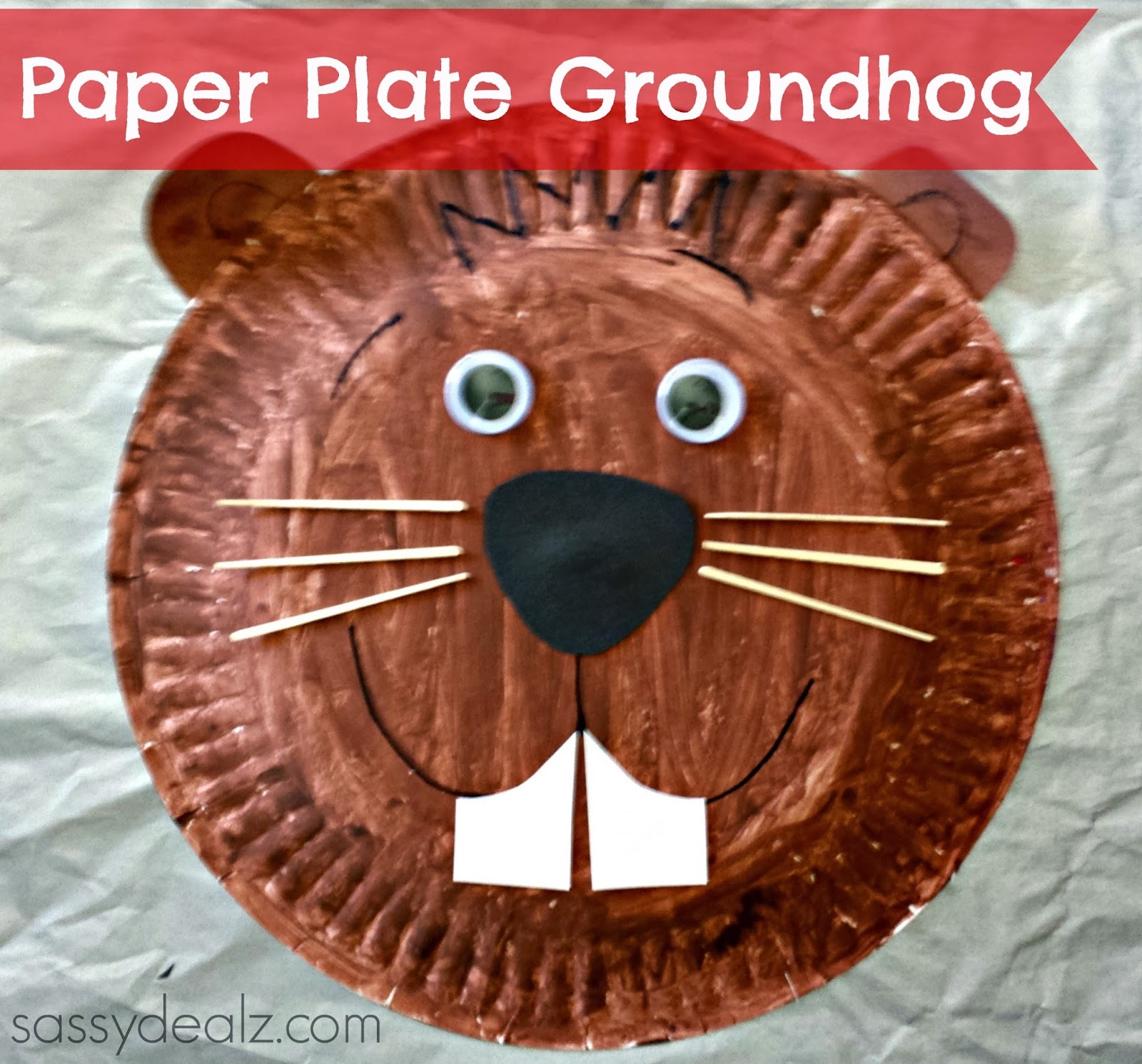 Groundhog Paper Plate Craft For Kids