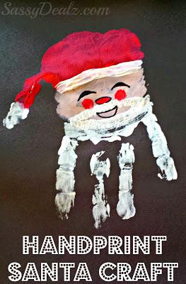 Santa Claus Handprint Christmas Craft For Kids