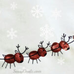 Santa's Sleigh w/ Flying Reindeer Fingerprint Craft For Kids