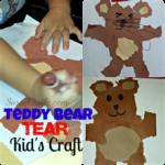 Teddy Bear Tear Kid's Craft (Cheap & Easy - No Scissors Required!)