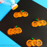 Water Bottle Cap Pumpkin Stamping Craft