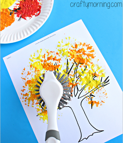 dish-brush-fall-craft-for-kids-tree