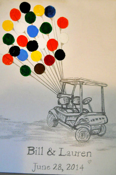 golf-cart-fingerprint-wedding-guestbook-idea