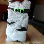 Cheesecloth Mummy Craft Using a Macaroni Box