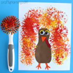 Dish Brush Turkey Craft for Thanksgiving