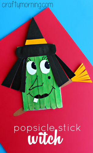 Make A Funny Witch Craft Using Popsicle Sticks Crafty Morning
