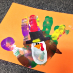 Colorful Handprint Turkey Craft for Thanksgiving