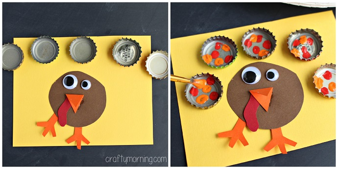 bottle-cap-turkey-craft-for-kids-