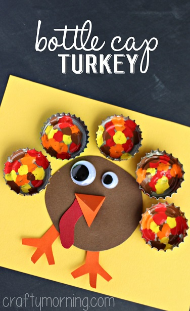 bottle-cap-turkey-craft-for-kids- paint bottle caps red, orange, yellow and brown and place them around a brown construction paper turkey body