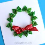 Bow Tie Noodle Wreath Craft for Christmas (Card Idea)