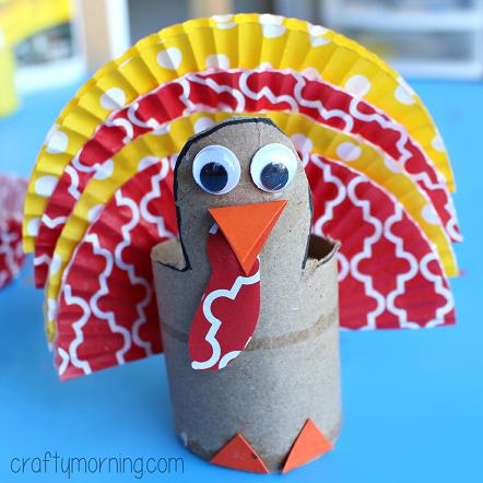 Cupcake Liner Turkey Craft Using Cardboard Tubes