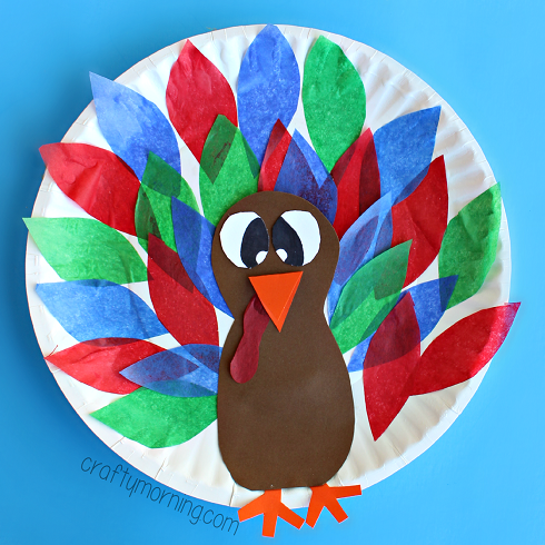 Paper Plate Turkey Craft Using Tissue Paper Crafty Morning