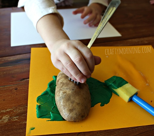 Christmas Tree Potato Stamping Craft for Cards