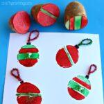 Potato Stamping Craft: Christmas Ornament Bulbs