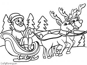 santas-sleigh-reindeer-free-coloring-page