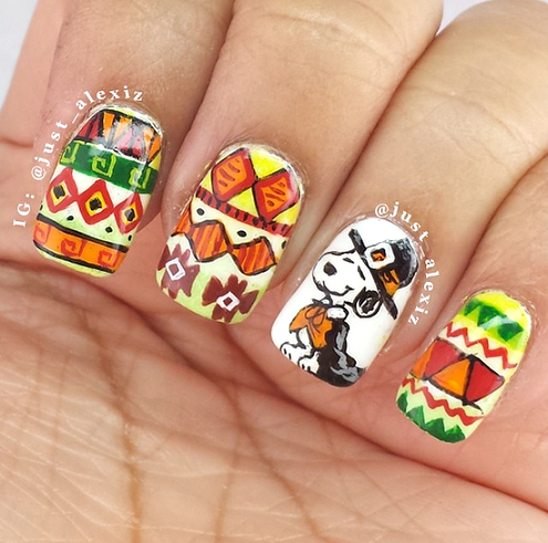 snoopy-thanksgiving-nail-designs