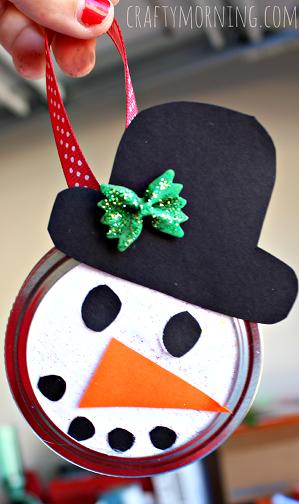 snowman-mason-jar-lid-ornament-craft-for-kids
