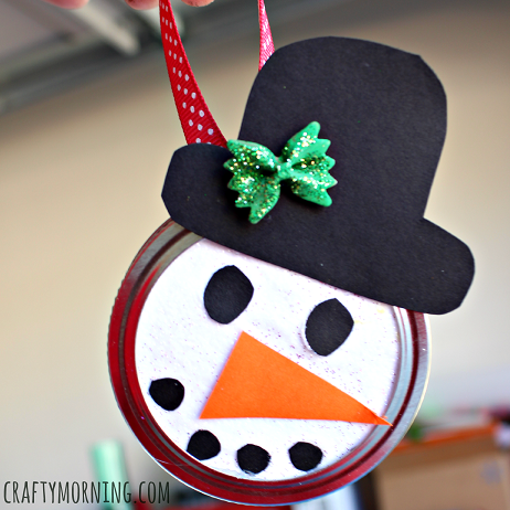 Snowman Mason Jar Lid Ornament For Kids To Make Crafty Morning
