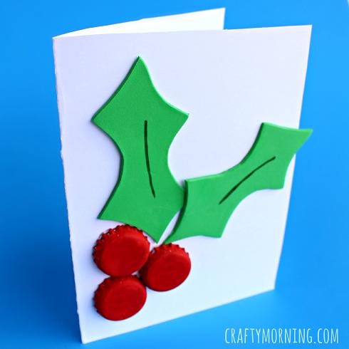 Bottle Cap Holly Craft Christmas Card Crafty Morning