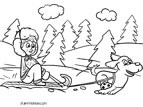 dog-pulling-kid-on-sled-winter-coloring-page