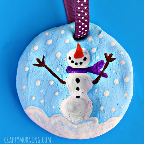 fingerprint-salt-dough-snowman-ornament