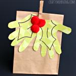 Kid's Handprint Holly Mistletoe Gift Bag Idea