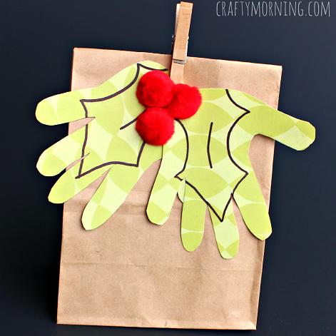 handprint-holly-mistle-toe-gift-bag-craft-for-kids