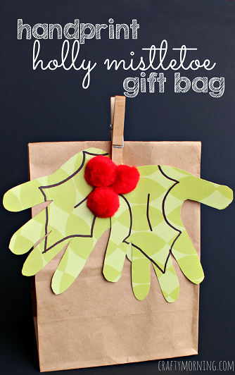 kids-handprint-holly-mistletoe-christmas-gift-bag-craft