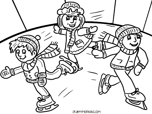 kids-ice-skating-rink-winter-coloring-page