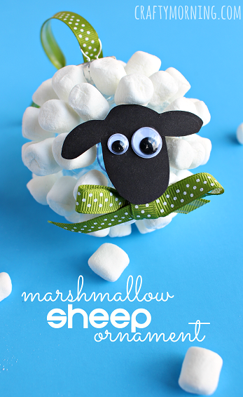 marshmallow-sheep-christmas-ornament-craft