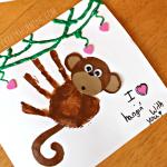 Handprint Monkey Valentine Craft for Kids