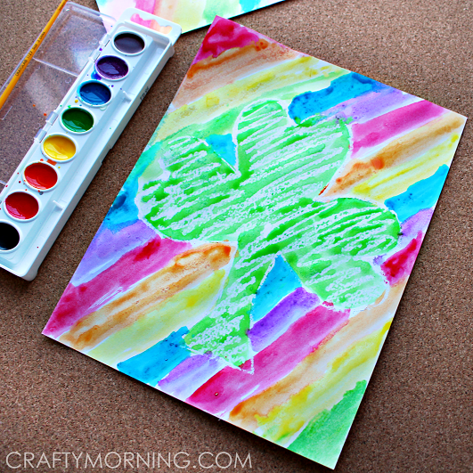 crayon-resist-rainbow-shamrock-st-patricks-day-craft-for-kids