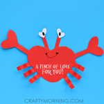 Heart Shape Crab Valentine Craft for Kids