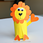 Heart Shape Toilet Paper Roll Lion Craft for Kids