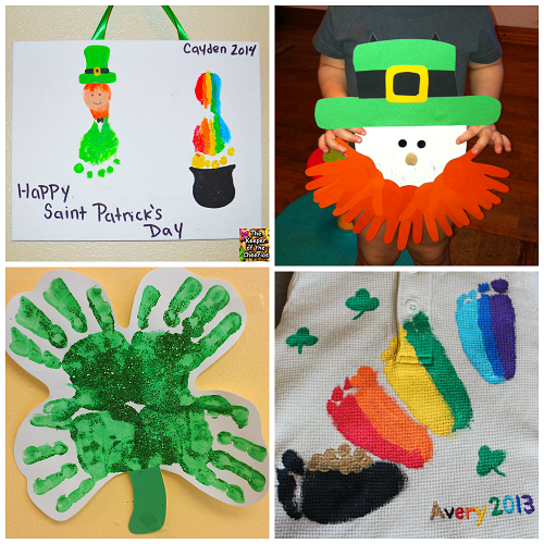 St. Patrick's Day Footprint & Handprint Crafts for Kids