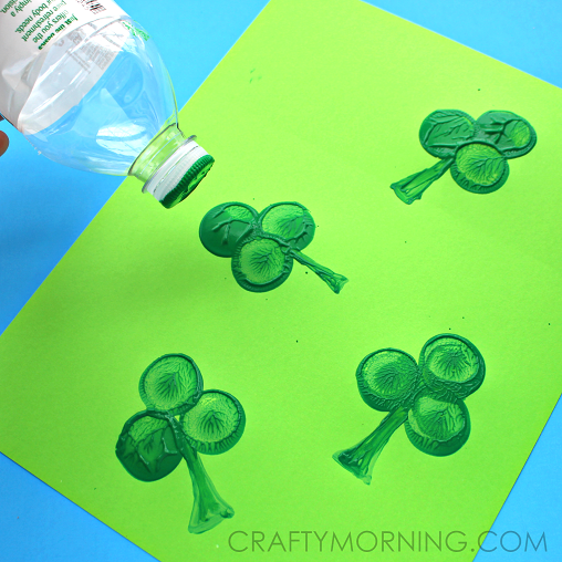 Water Bottle Shamrock Stamp Craft for Kids