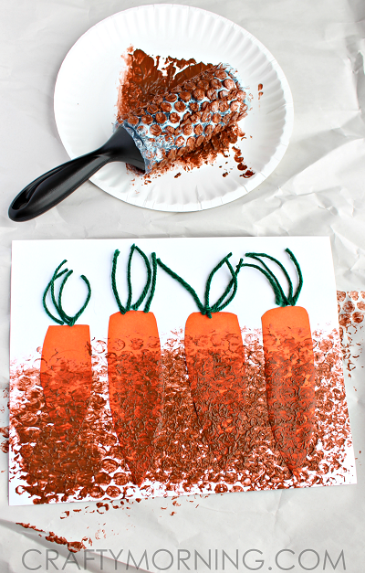bubble-wrap-carrot-patch-craft-for-kids-