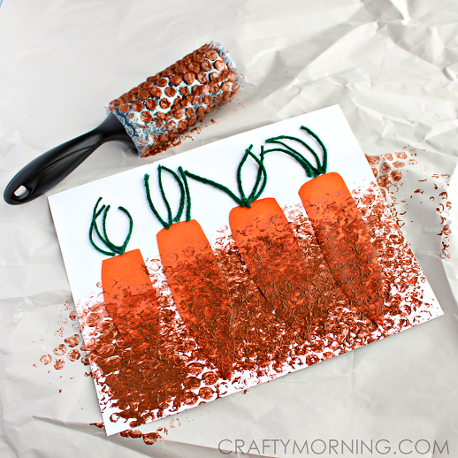 bubble-wrap-carrot-patch-craft-for-kids